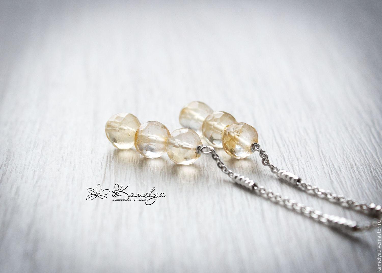 Silver earrings with citrine 'Sun melody' 925 silver, Earrings, Yaroslavl,  Фото №1