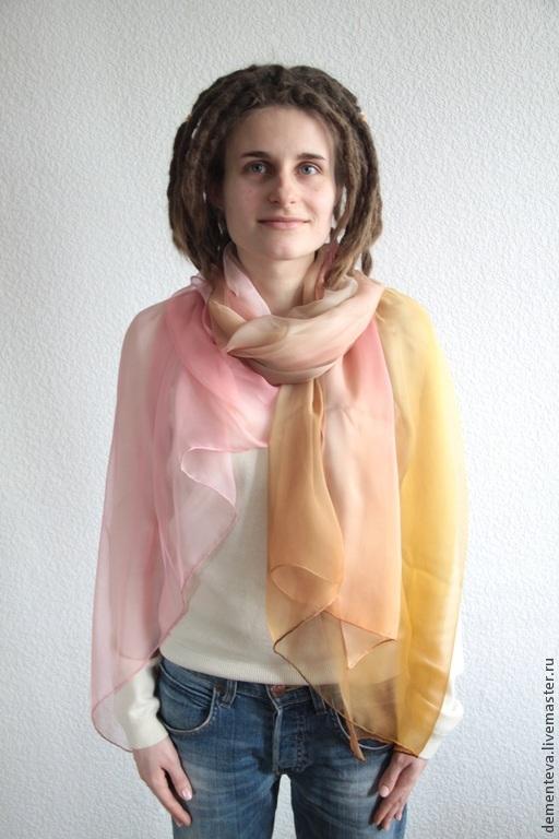 Шелковый Палантин `Чайная Роза`  Ручная работа – Татьяна Дементьева