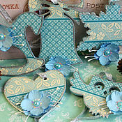 Сувениры и подарки handmade. Livemaster - original item Christmas decorations Turquoise decoupage. Handmade.