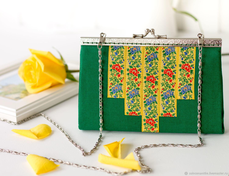 Сумка, сумочка с фермуаром, сумка через плечо от мастерской Солнце на нитке (Светлана Погосян)