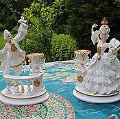 Парные фарфоровые статуэтки -подсвечники , дом Фаберже и Franklin Mint