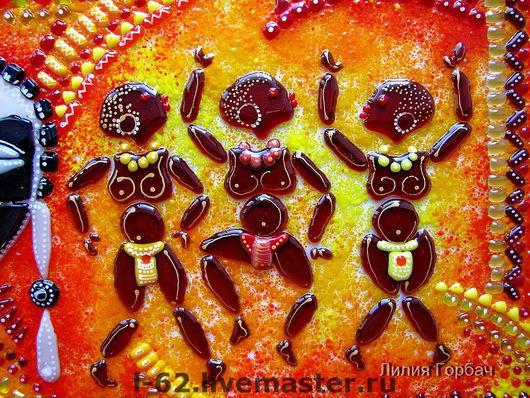 Ethnic Art handmade. Livemaster - handmade. Buy panels of glass, fusing the Dancing men.Stained glass, interior