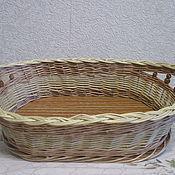 Для дома и интерьера ручной работы. Ярмарка Мастеров - ручная работа Вазочка для конфет/печенья плетеная из лозы с бусинками. Handmade.