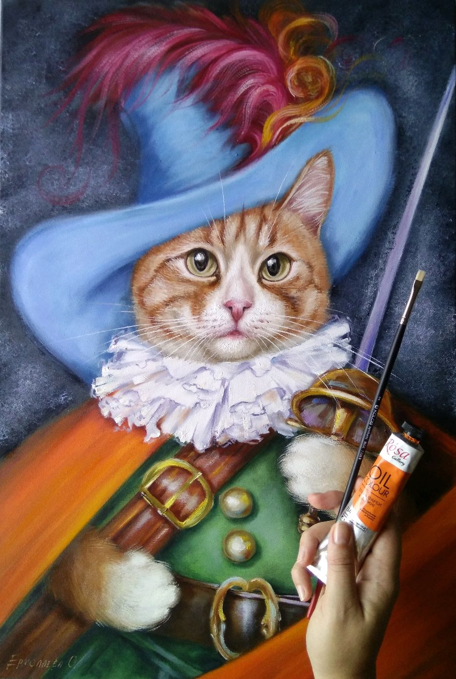 Oil painting Marcel (puss in boots), Pictures, Zhitomir,  Фото №1