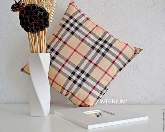 """Текстиль, ковры ручной работы. Ярмарка Мастеров - ручная работа. Купить Интерьерная подушка """"chequered"""". Handmade. Бежевый, клетчатая ткань"""