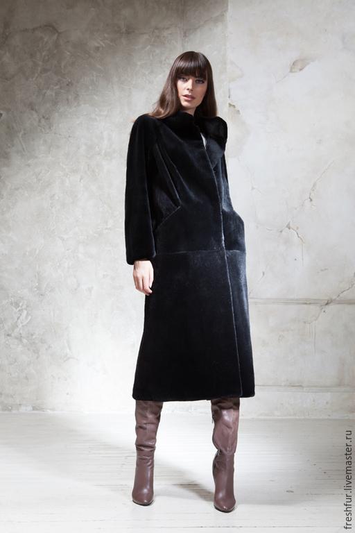"""Верхняя одежда ручной работы. Ярмарка Мастеров - ручная работа. Купить Пальто из стриженного бобра """"Валетта"""". Handmade. Черный"""
