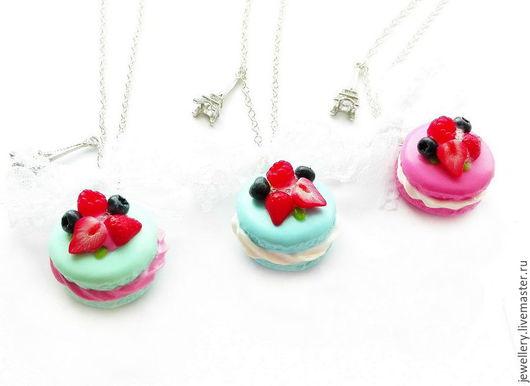 """Кулоны, подвески ручной работы. Ярмарка Мастеров - ручная работа. Купить Кулоны """"Berry Macaroon"""". Handmade. Комбинированный, розовый"""