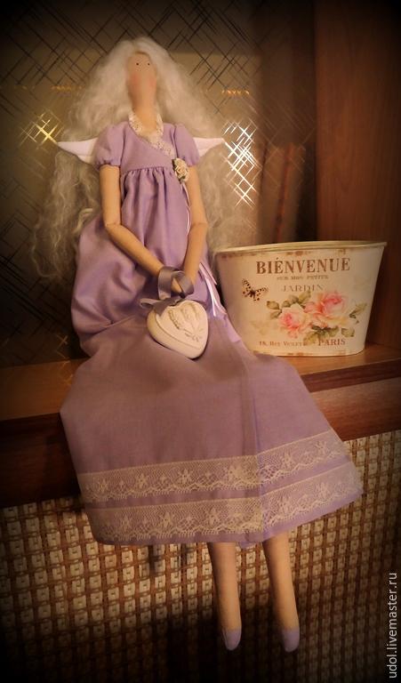 Куклы Тильды ручной работы. Ярмарка Мастеров - ручная работа. Купить Лавандовый ангел. Handmade. Сиреневый, ангел тильда