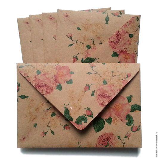 Упаковка ручной работы. Ярмарка Мастеров - ручная работа. Купить Крафт-конверт / розы 2. Handmade. Коричневый