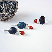 Украшения handmade. Livemaster - original item Lapis lazuli and corals in silver, earrings and ring, set. Handmade.