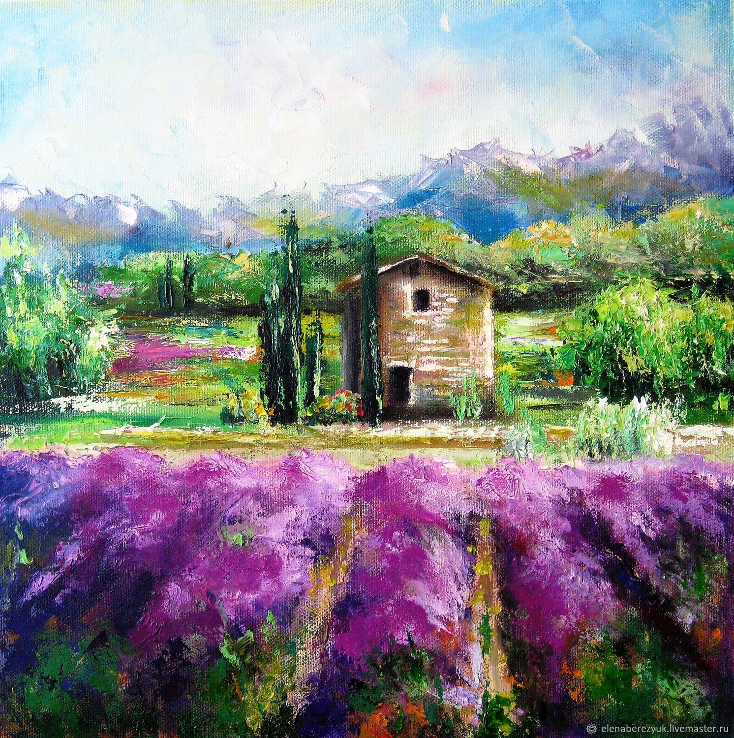 Landscape painting on canvas Lavender Provence, Pictures, Petrozavodsk,  Фото №1