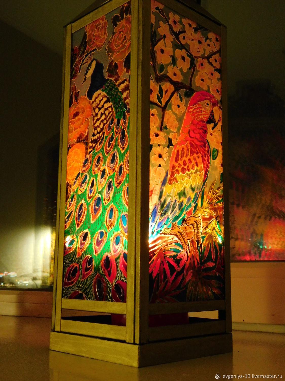 """Подсвечники ручной работы. Ярмарка Мастеров - ручная работа. Купить Витражный фонарик """"Пернатые джунгли"""". Handmade. Подарок, попугай, Фонарик"""