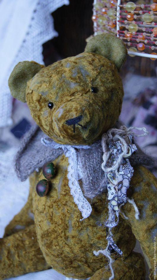 Мишки Тедди ручной работы. Ярмарка Мастеров - ручная работа. Купить Оливер. Handmade. Хаки, подарок, стеклянные глазки