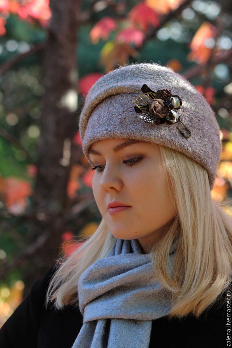 """Шапки ручной работы. Ярмарка Мастеров - ручная работа. Купить Валяная шапочка """"Туманное утро"""". Handmade. Осень, абстрактный"""