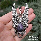 Украшения handmade. Livemaster - original item Angel pendant with wings silver, natural Amethyst. Handmade.