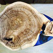 Столы ручной работы. Ярмарка Мастеров - ручная работа Кофейный столик из карагача с синим озером из смолы. Handmade.