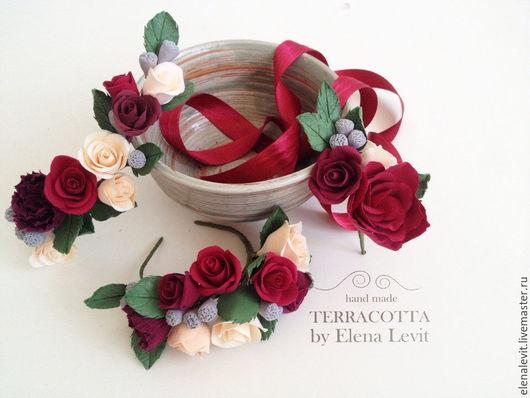 Комплект украшений из полимерной глины. Terracotta by Elena Levit.