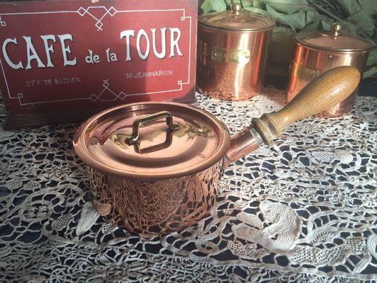 Винтажная посуда. Ярмарка Мастеров - ручная работа. Купить Медная старинная кастрюлька с крышкой. Handmade. Медь, Франция