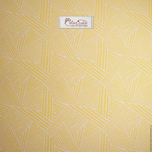 """Шитье ручной работы. Ярмарка Мастеров - ручная работа. Купить Трикотаж интерлок """"Геометрия"""" Т019. Handmade. Желтый, трикотаж хлопок"""