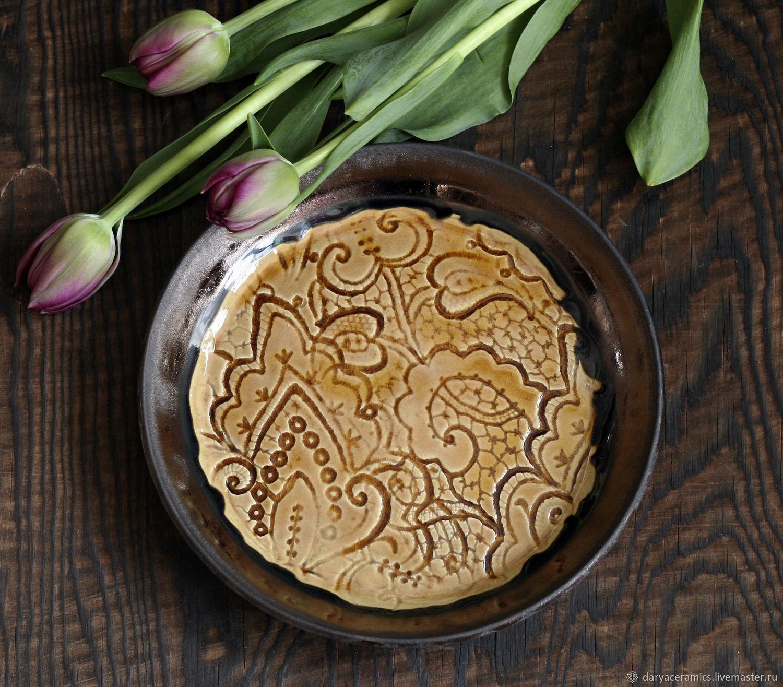 Гончарная керамическая тарелка с кружевом, Тарелки, Санкт-Петербург,  Фото №1