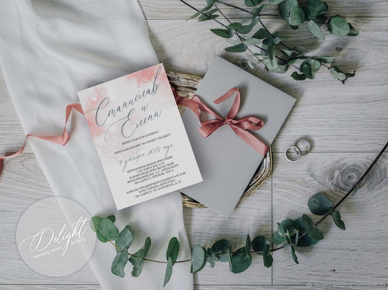 """Приглашение """"Акварель"""" в розовом, Приглашения, Тольятти, Фото №1"""