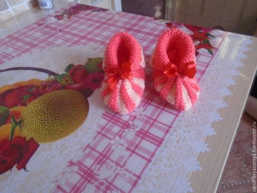 Для новорожденных, ручной работы. Ярмарка Мастеров - ручная работа. Купить ПИНЕТКИ ЗЕФИРКИ. Handmade. Розовый и бежевый, носить осенью