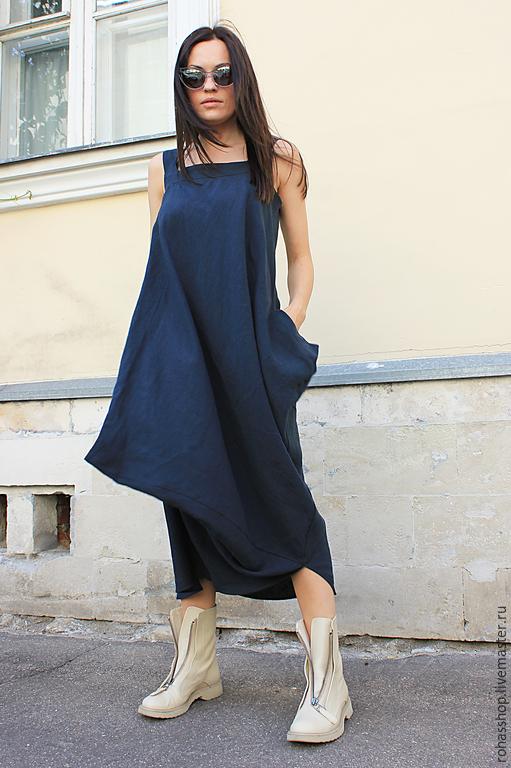 R00018 Сарафан из льна сарафан летний длинный сарафан длинное платье в пол платье синее платье летнее платье летняя мода 2015 платье из льна платье синее темно синее платье