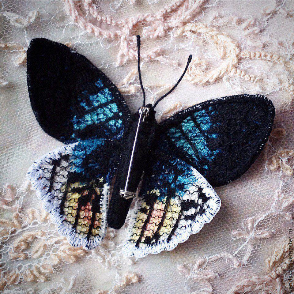 Брошь бабочка вышивка 23