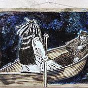 Картины и панно ручной работы. Ярмарка Мастеров - ручная работа Индеец Никто и Уильям Блейк в лодке (керамическое панно со стеклом). Handmade.
