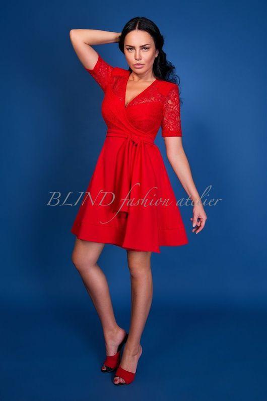 Платья ручной работы. Ярмарка Мастеров - ручная работа. Купить Платье 00256. Handmade. Blind, красный, гипюр, трикотаж