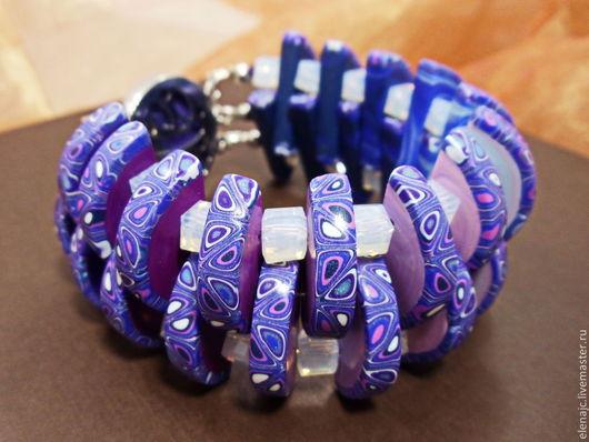 Браслеты ручной работы. Ярмарка Мастеров - ручная работа. Купить Индиго 2 - Браслет плетеный синий фиолетовый с бусинами. Handmade.
