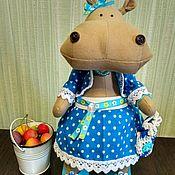 Куклы и игрушки ручной работы. Ярмарка Мастеров - ручная работа Бегемотик  Тильда в костюме в горошек. Handmade.