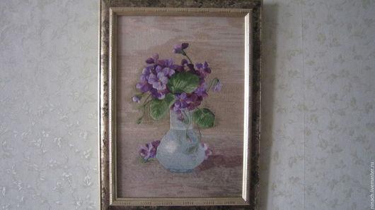 Картины цветов ручной работы. Ярмарка Мастеров - ручная работа. Купить картина вышитая гладью  Фиалки. Handmade. Комбинированный