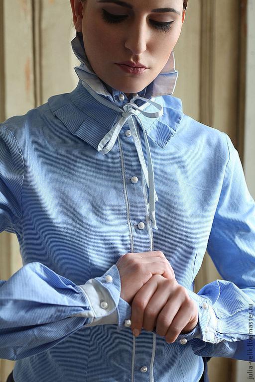 """Блузки ручной работы. Ярмарка Мастеров - ручная работа. Купить Блузка-рубашка """"Фонарь в Голове"""". Handmade. Голубой, жемчужные бусины"""