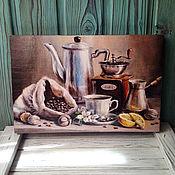 """Картины и панно ручной работы. Ярмарка Мастеров - ручная работа Панно """"Кофе с лимоном2"""". Handmade."""