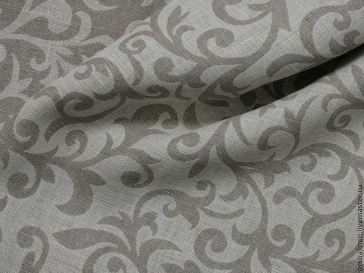 """Шитье ручной работы. Ярмарка Мастеров - ручная работа. Купить Ткань декоративная """"Злато"""". Handmade. Серый, льняная ткань с узорами"""