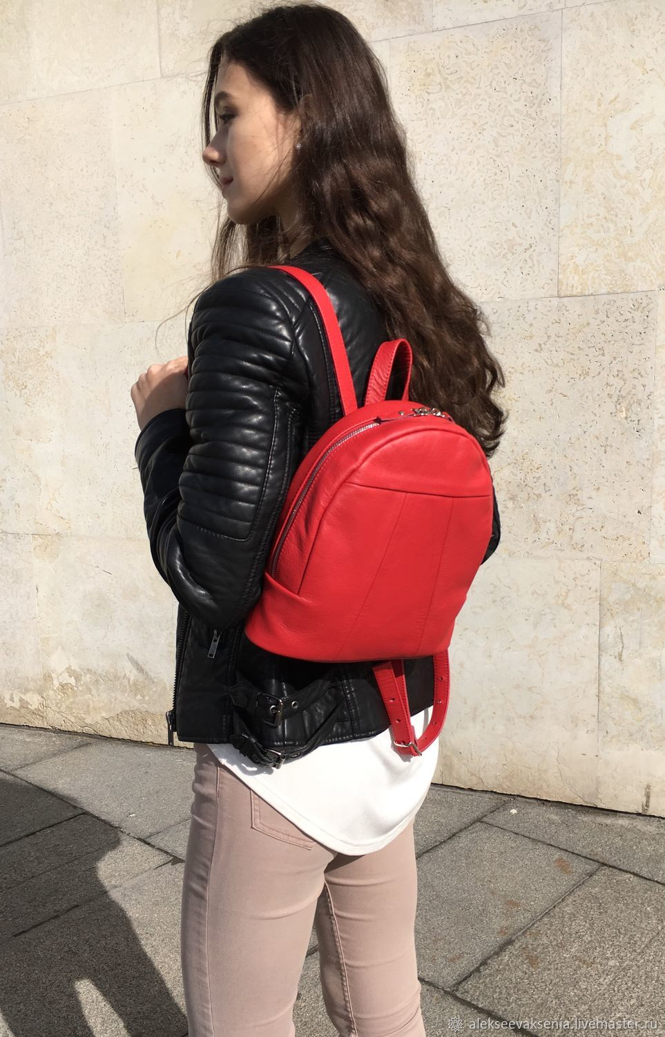 Backpack small bright red genuine leather, Backpacks, St. Petersburg,  Фото №1