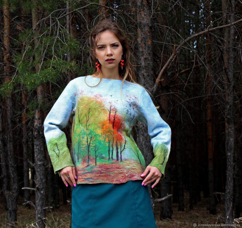 Sweatshirt felted Summer in the woods, Sweaters, Verhneuralsk,  Фото №1