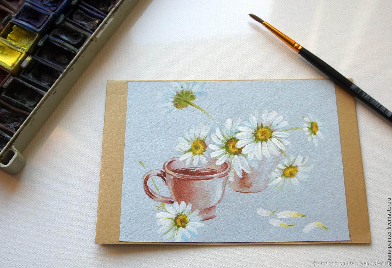 Рисованная открытка ручной работы