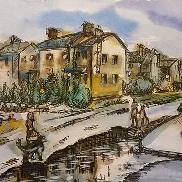 """Картины и панно ручной работы. Ярмарка Мастеров - ручная работа """"Городские зарисовки.После дождя"""". Handmade."""