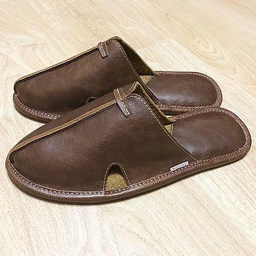 Обувь ручной работы. Ярмарка Мастеров - ручная работа Тапки мужские кожаные М-3 винтаж. Handmade.