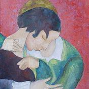 """Картины и панно ручной работы. Ярмарка Мастеров - ручная работа Картина маслом """"Розовые любовники"""". Handmade."""