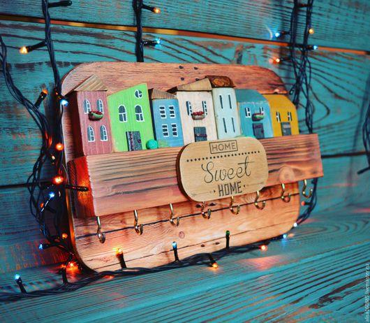 ключница с домиками ключница купить в москве ключница ручной работы подарок на новый год подарок на любой случа
