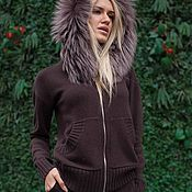 Одежда handmade. Livemaster - original item New! A cashmere suit with a hood and trimmed from Arctic Fox Brown. Handmade.