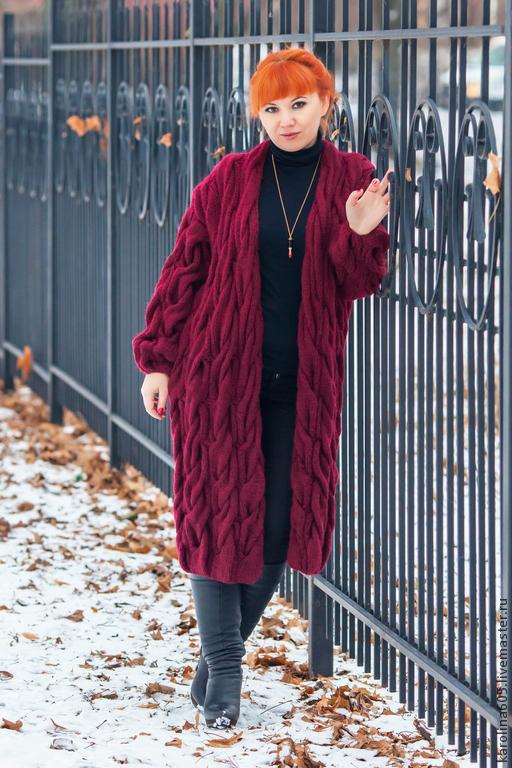 """Кофты и свитера ручной работы. Ярмарка Мастеров - ручная работа. Купить Кардиган  """"Зимняя вишня"""". Handmade. Кардиган, вязаный кардиган"""