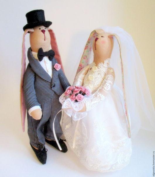 Свадебные зайцы жених и невеста подарок на свадьбу ручная работа Ярмарка мастеров эксклюзивный подарок свадебный декор