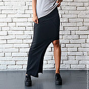 Одежда manualidades. Livemaster - hecho a mano Asymmetric Black Skirt. Handmade.