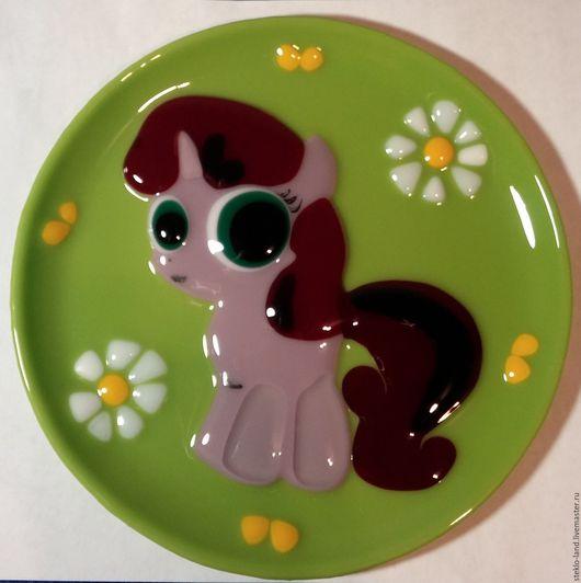 """Тарелки ручной работы. Ярмарка Мастеров - ручная работа. Купить Тарелка из стекла """"Моя любимая пони"""". Handmade. Комбинированный, посуда"""