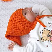 Работы для детей, handmade. Livemaster - original item elf hat for newborn baby boy knitted orange. Handmade.