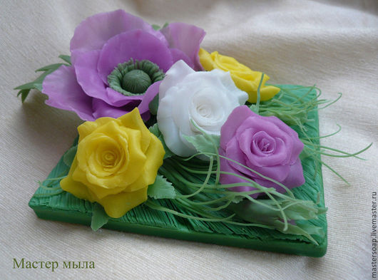 Мыло ручной работы. Ярмарка Мастеров - ручная работа. Купить Мыльный букетик из мака и роз.. Handmade. Мыльные цветы